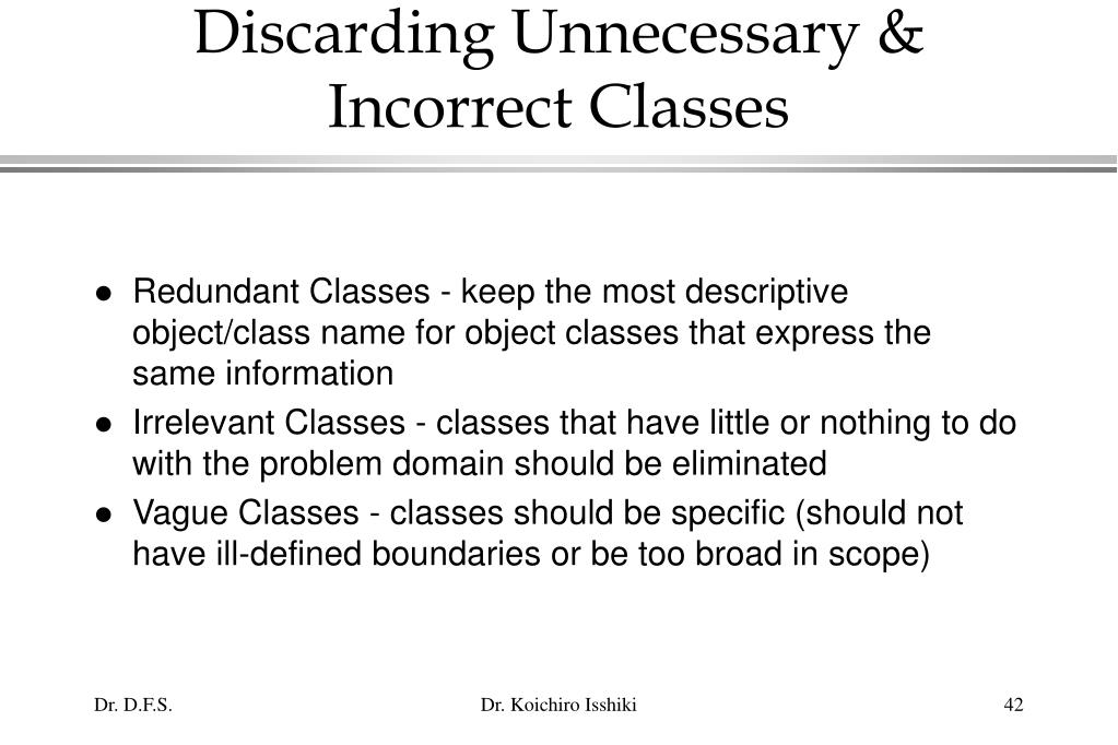 Discarding Unnecessary & Incorrect Classes