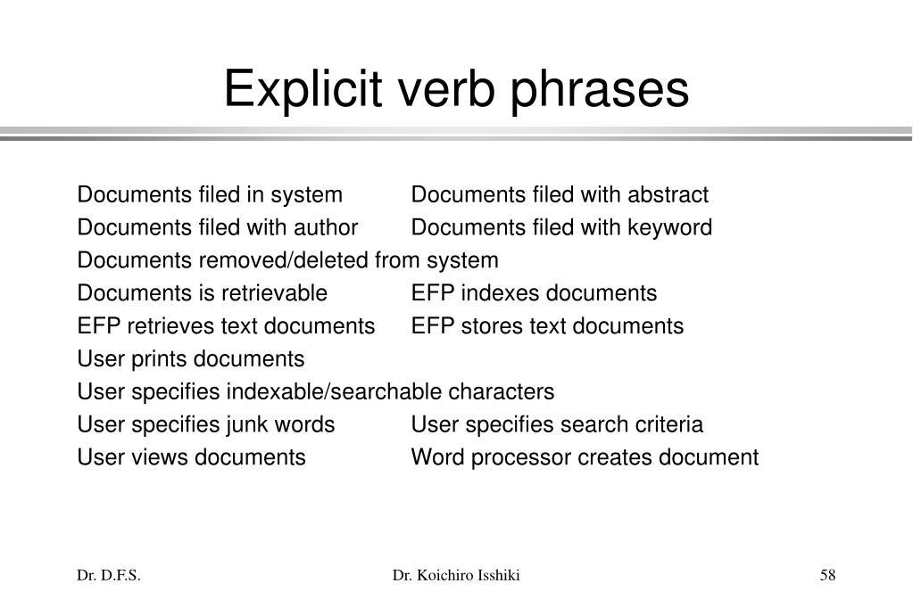 Explicit verb phrases