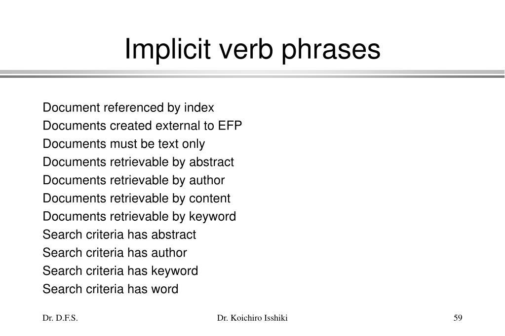 Implicit verb phrases