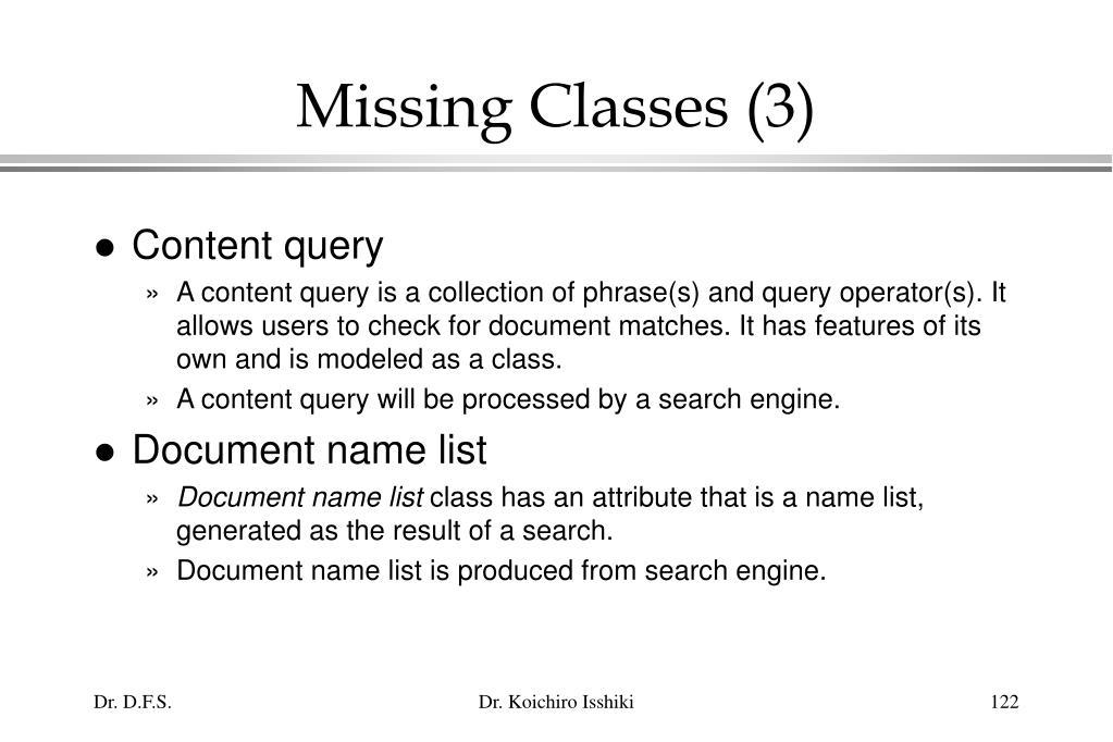Missing Classes (3)