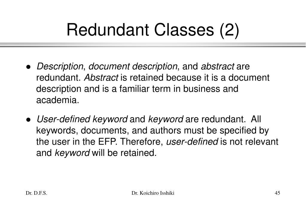 Redundant Classes (2)
