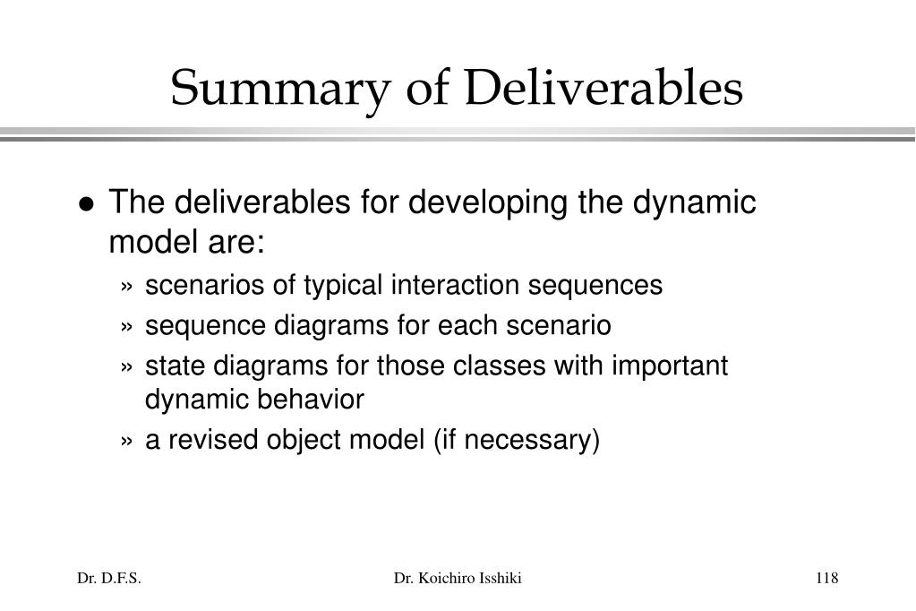Summary of Deliverables