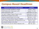 campus based deadlines