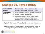 grantee vs payee duns
