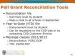 pell grant reconciliation tools