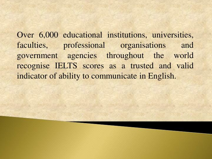 Over 6,000 educational institutions, universities, faculties, professional