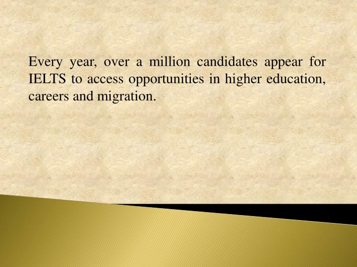 Every year, over a million candidates appear for IELTS to access opportunities in higher education, careers and migration.