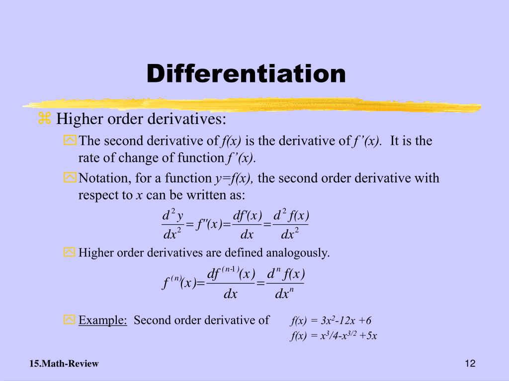 Higher order derivatives are defined analogously.