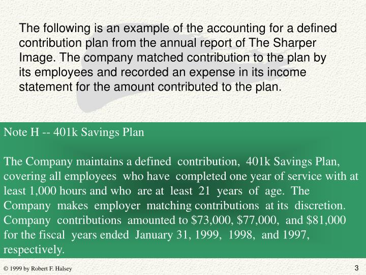 The following is an example of the accounting for a defined contribution plan from the annual report...
