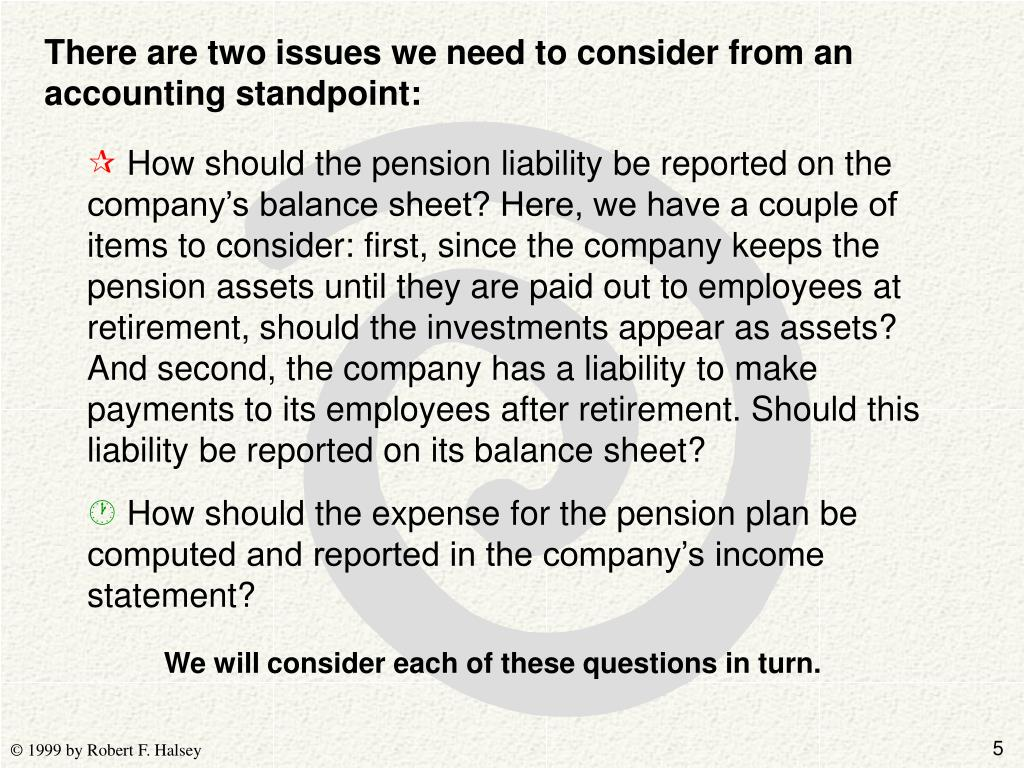 There are two issues we need to consider from an accounting standpoint: