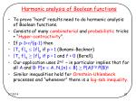harmonic analysis of boolean functions