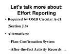 let s talk more about effort reporting