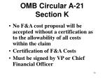omb circular a 21 section k