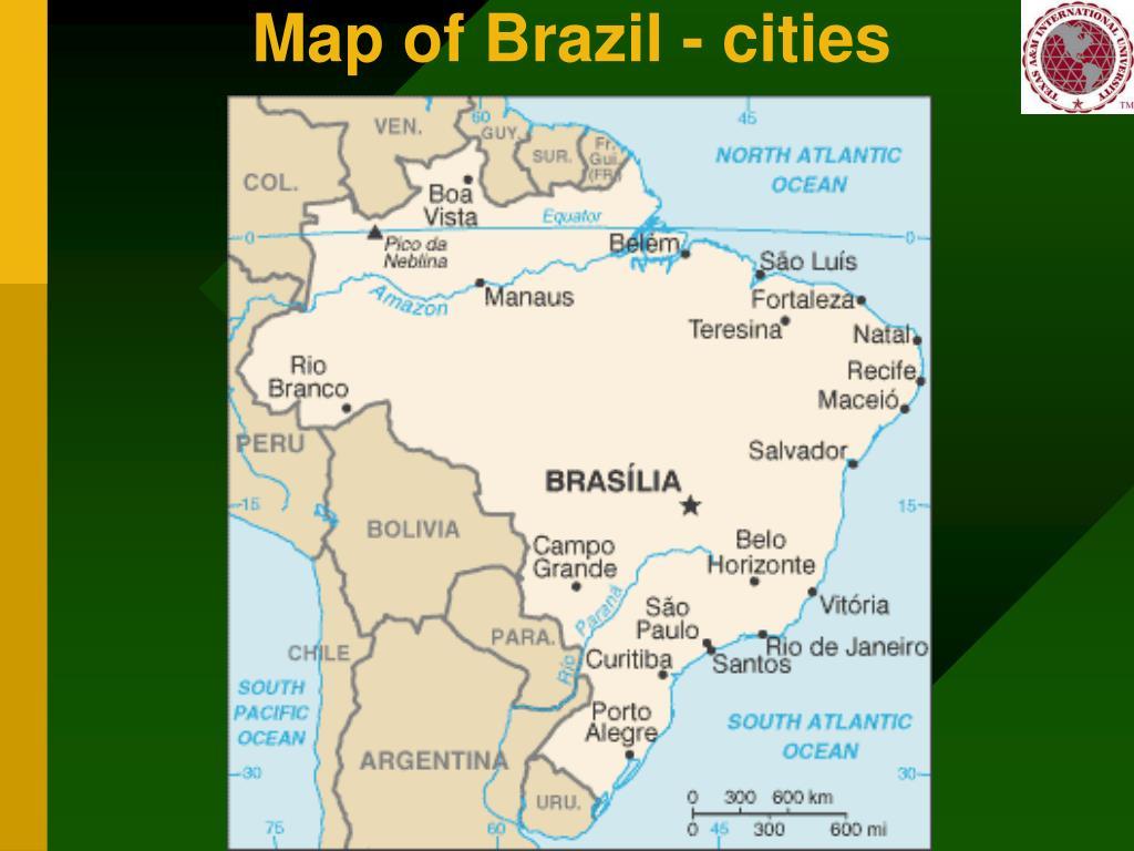 Map of Brazil - cities