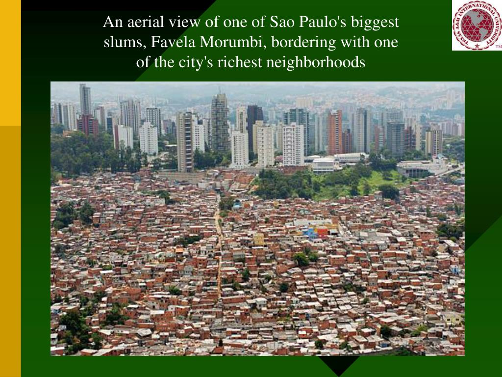 An aerial view of one of Sao Paulo's biggest slums, Favela Morumbi, bordering with one of the city's richest neighborhoods