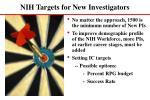 nih targets for new investigators