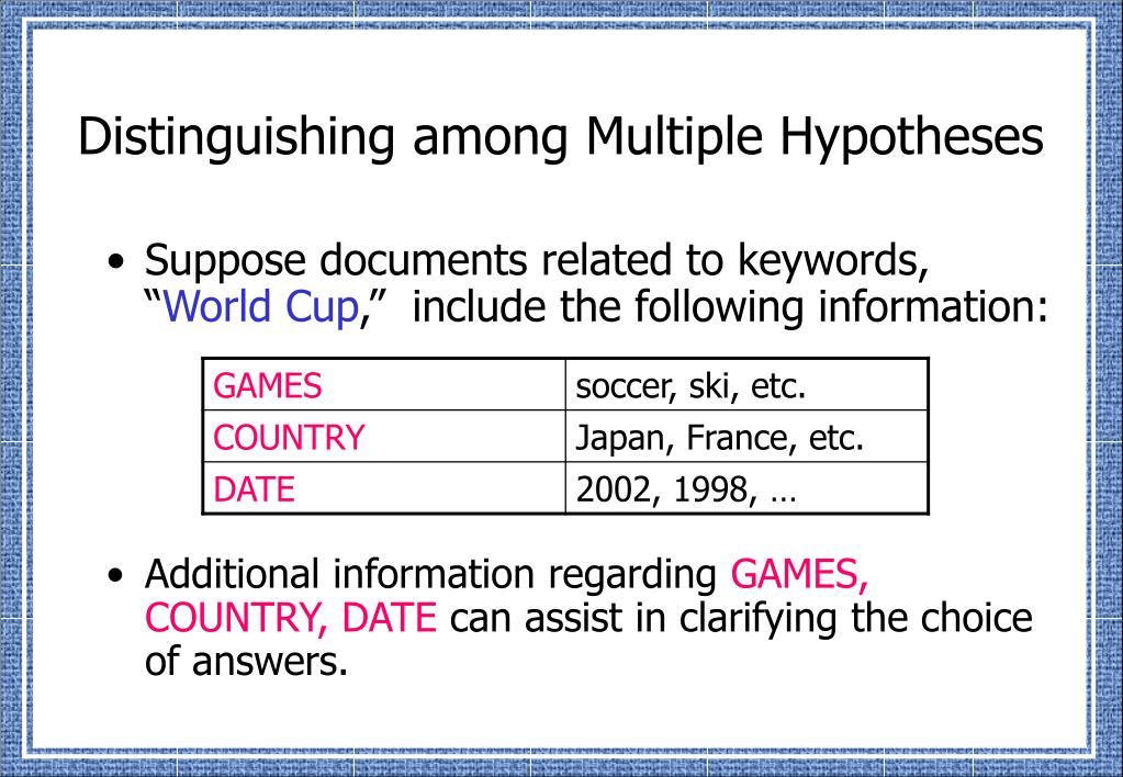 Distinguishing among Multiple Hypotheses