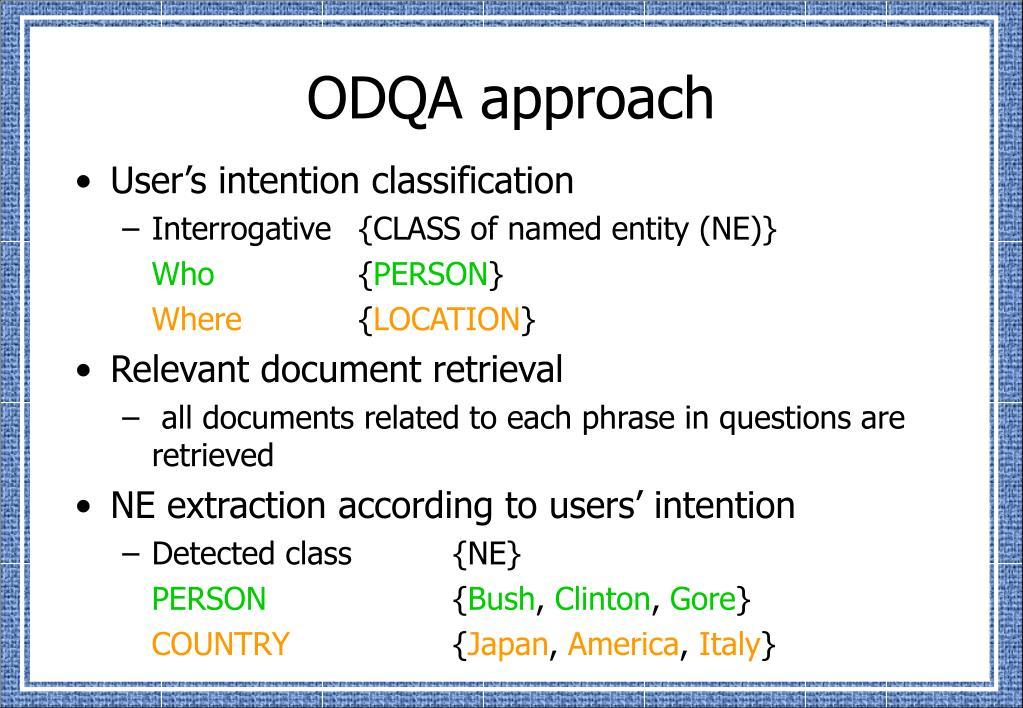ODQA approach