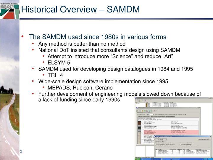 Historical overview samdm