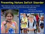preventing nature deficit disorder