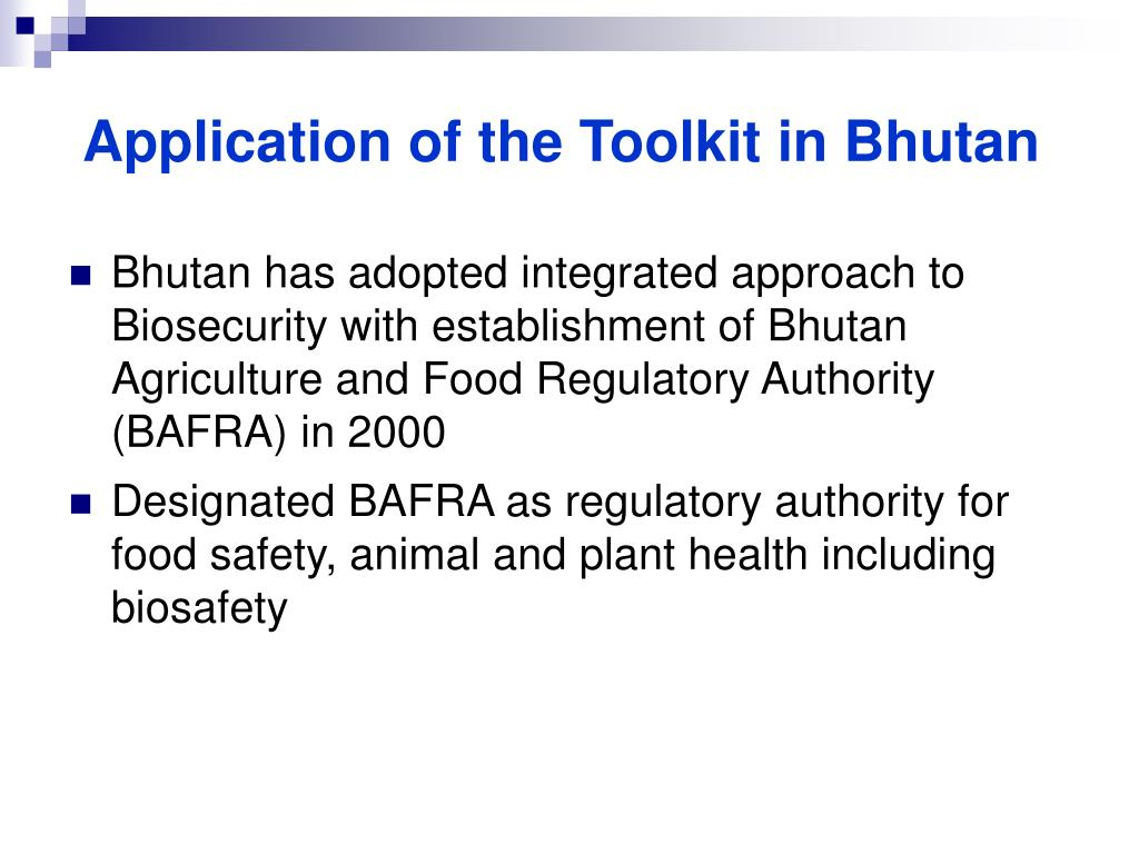 Application of the Toolkit in Bhutan