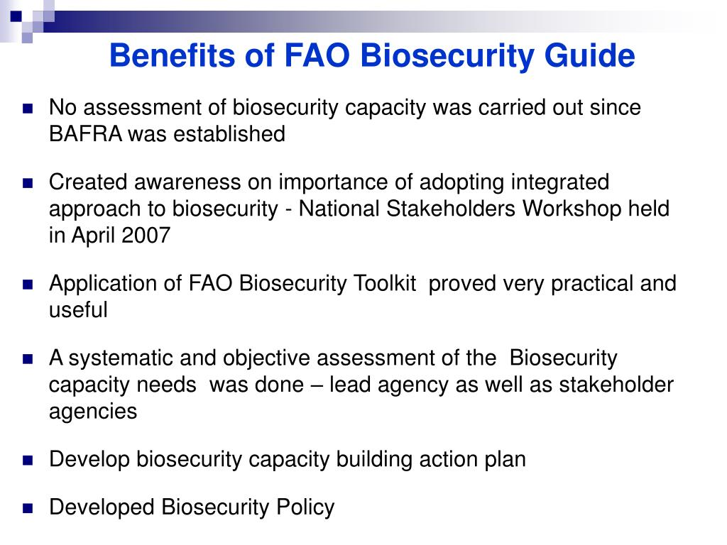 Benefits of FAO Biosecurity Guide