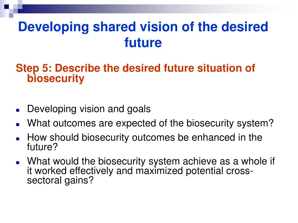 Developing shared vision of the desired future