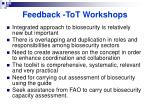 feedback tot workshops