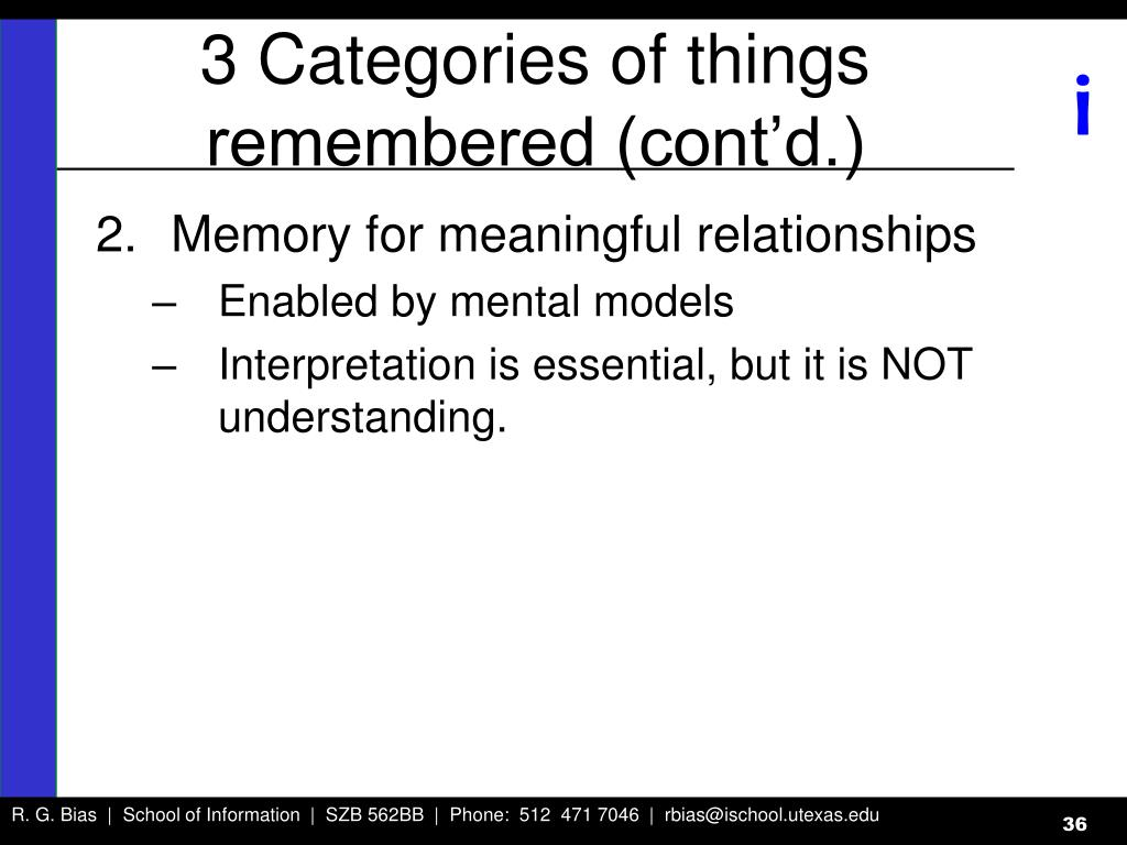 3 Categories of things remembered (cont'd.)