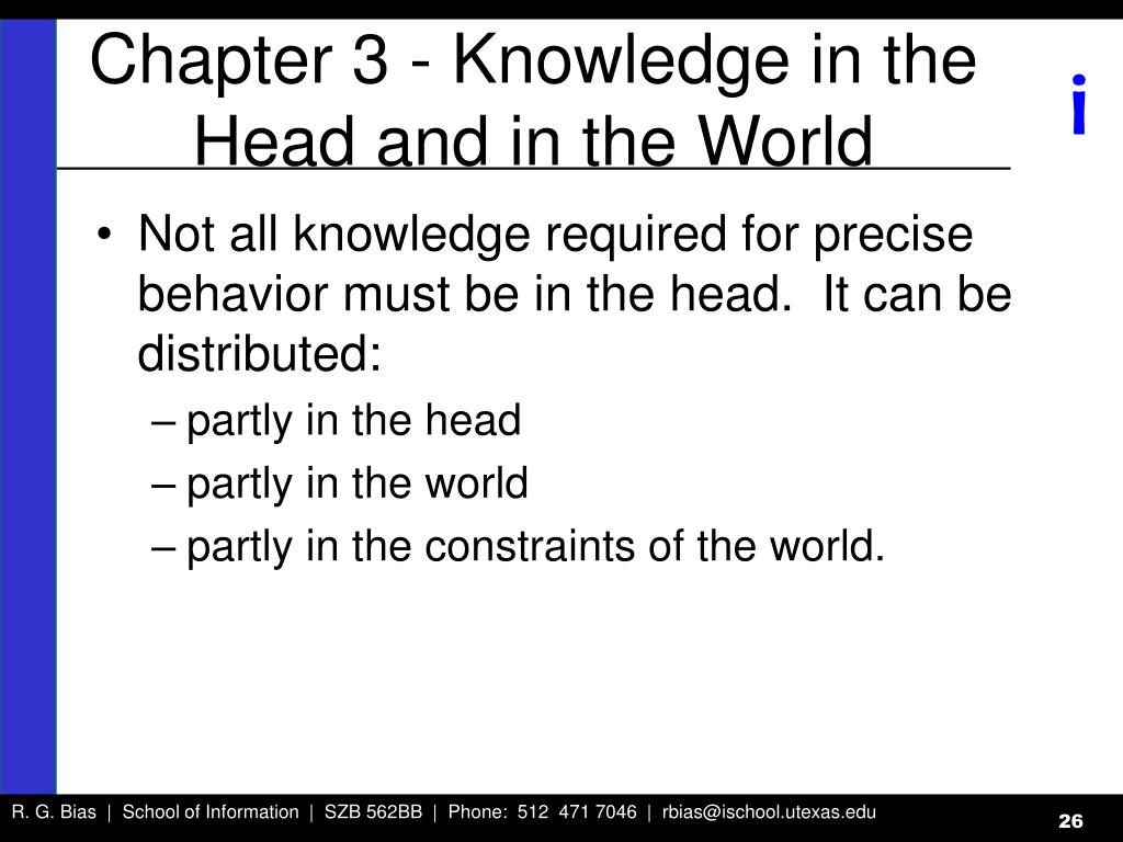 Chapter 3 - Knowledge in the Head and in the World