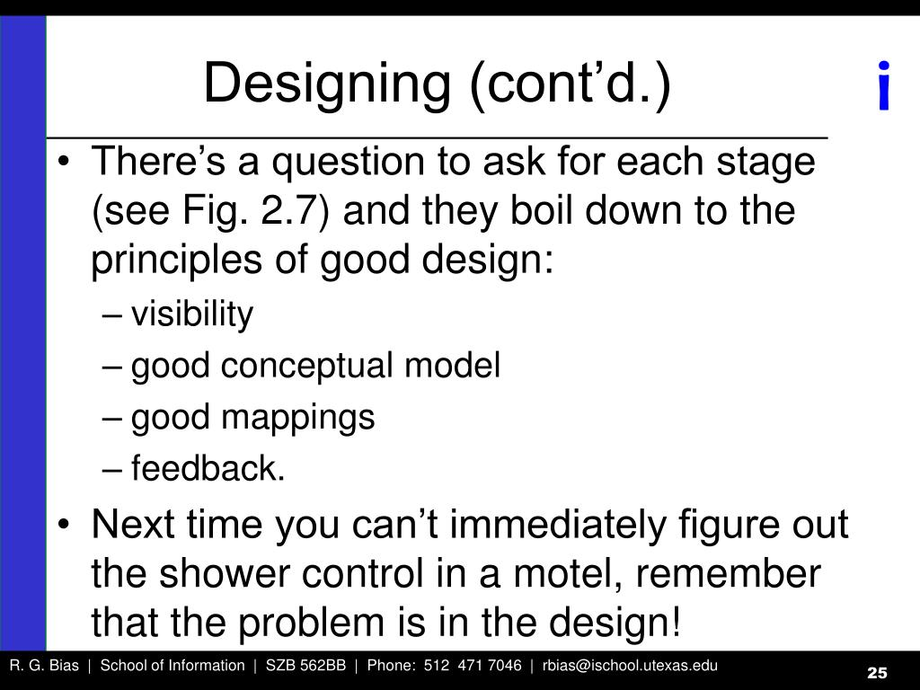 Designing (cont'd.)