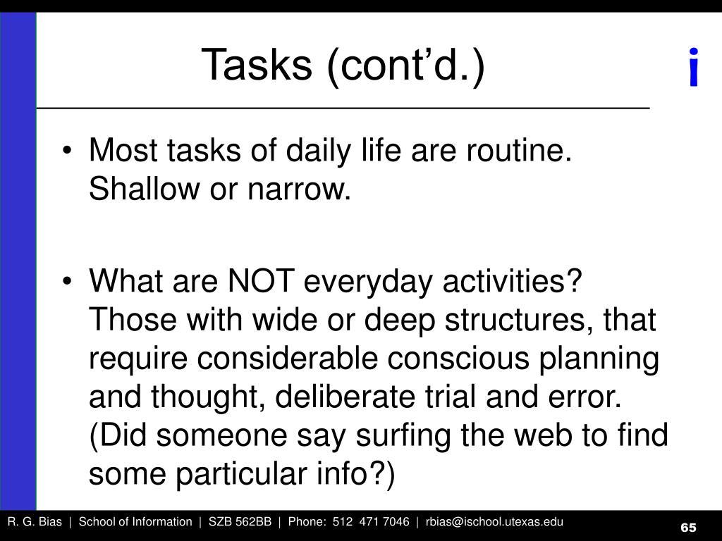 Tasks (cont'd.)