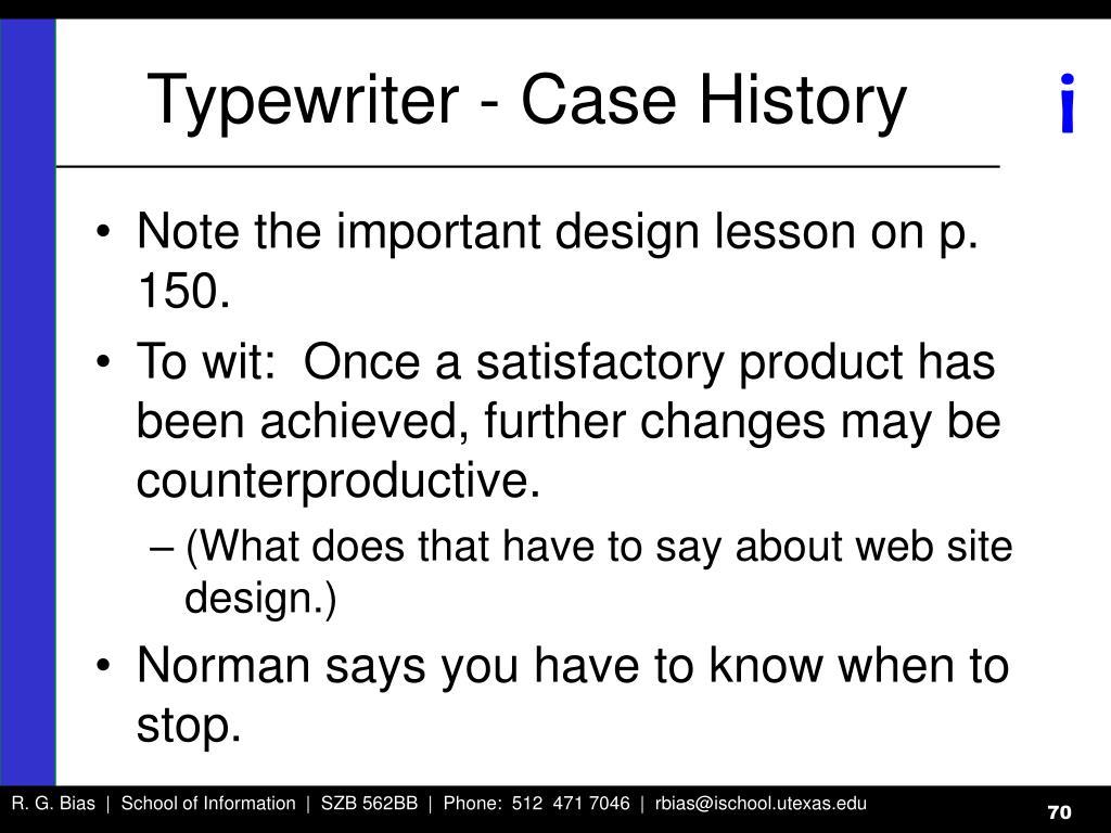 Typewriter - Case History