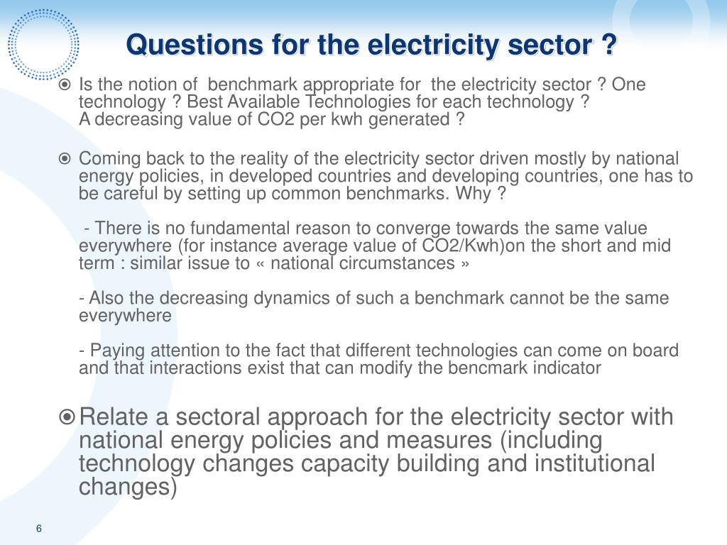 Questions for the electricity sector ?