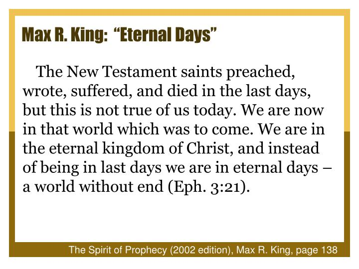 "Max R. King:  ""Eternal Days"""