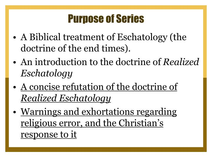 Purpose of series