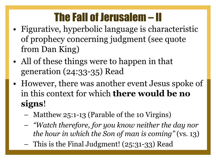 The Fall of Jerusalem – II