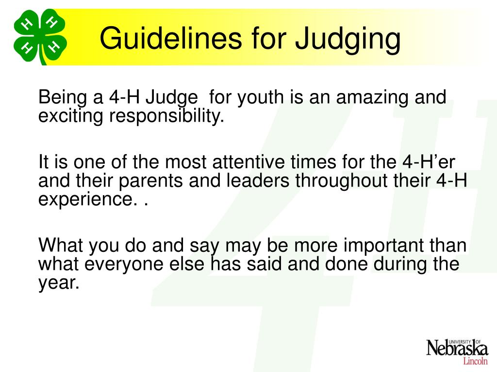 Guidelines for Judging