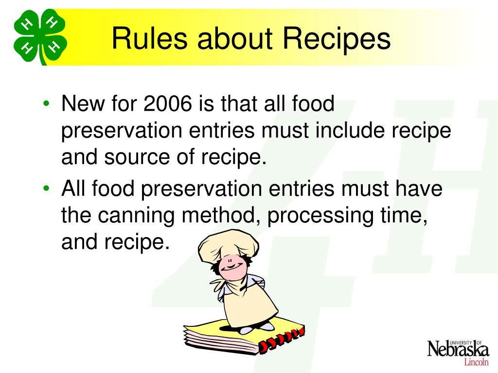 Rules about Recipes