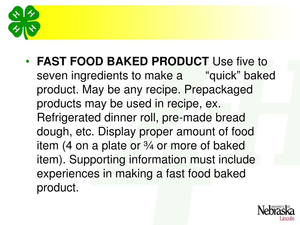FAST FOOD BAKED PRODUCT