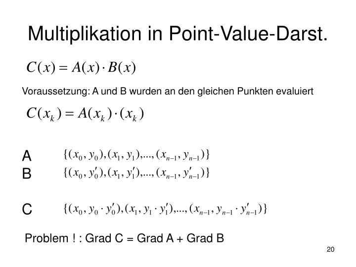 Multiplikation in Point-Value-Darst.