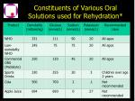 constituents of various oral solutions used for rehydration