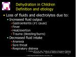dehydration in children definition and etiology