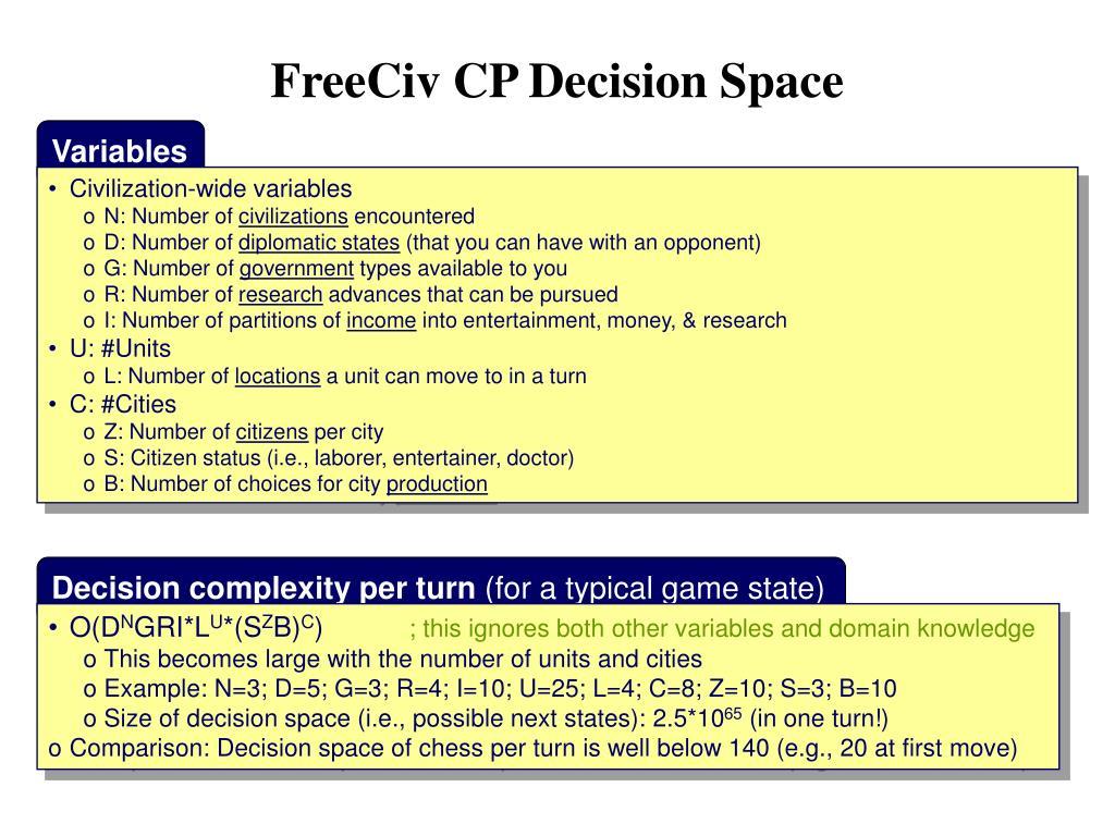FreeCiv CP Decision Space