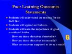 poor learning outcomes statements