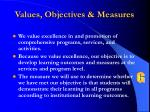 values objectives measures