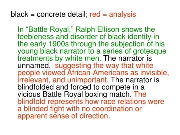 a book report on ralph ellisons battle royal