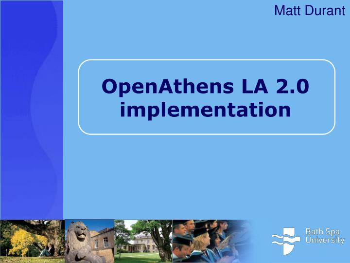 openathens la 2 0 implementation n.