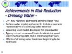 achievements in risk reduction drinking water
