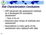 risk characterization conclusions